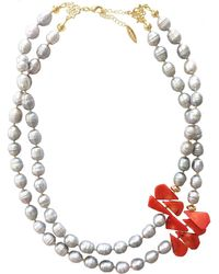 Farra Freshwater Pearls With Floral Corals Double Strand Necklace - Gray