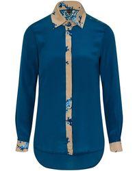 Sophie Cameron Davies - Teal Printed Classic Silk Shirt - Lyst