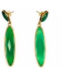 Tiana Jewel Green Cabochon Gemstone Earrings