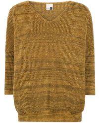 STUDIO MYR Autumn Dew Oversized V Neck Sweater With Sparkles Sunbeam - Metallic