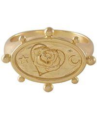 Wanderlust + Co Rhea Gold Signet Ring - Metallic