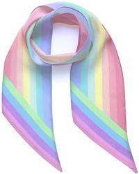 INGMARSON Henley Silk Stripe Neck Scarf Rainbow Pastel - Multicolour