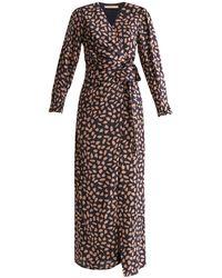 Paisie Petal Print Maxi Wrap Dress In Navy Petal Print - Multicolor
