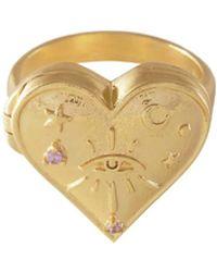 Wanderlust + Co - Harlow Locket Gold Ring - Lyst