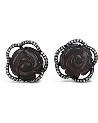 Bellus Domina - Sterling Silver Grey Agate Rose Earrings - Lyst