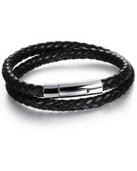 N'damus London - Mens Black Leather Double Plaited Bracelet With Silver Clasp - Lyst
