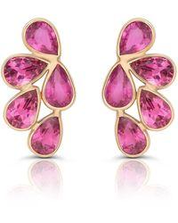 Trésor Pink Tourmaline Pear Shaped Earrings In 18k Yellow Gold