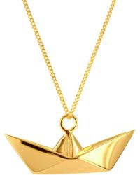 Origami Jewellery - Boat Necklace Gold - Lyst