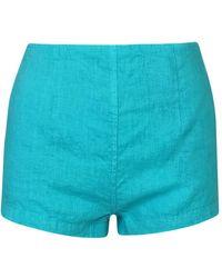 Haris Cotton High Waisted Linen Shorts - Blue