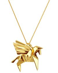 Origami Jewellery - Sterling Silver & Gold Mini Pegaze Origami Necklace - Lyst