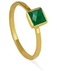 Ottoman Hands Polymnia Emerald Square Stacking Ring - Multicolour
