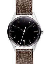 Uniform Wares Women's C36 Date Watch In Polished Steel With Textured Grey Nappa Leather Strap - Metallic