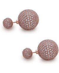 Artisan 18k Rose Gold Pave Diamond Beads Front & Back Earring - Multicolor