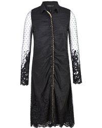 Xllullan - Felicity Sleeved Chenille Embroidered Shirt Dress - Lyst