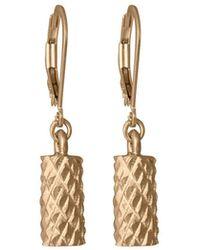 Edge Only Diamond Cut Cylinder Drop Earrings In Gold - Metallic