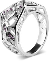 Bellus Domina White Gold Plated Crossover Amethyst Ring - Metallic