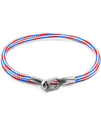 Anchor & Crew Project-rwb Red White & Blue Tenby Silver & Rope Bracelet - Multicolour