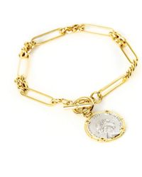 Serge Denimes Gold Plated Silver State Coin Bracelet - Metallic