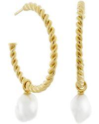 MONARC JEWELLERY - Corda Baroque Pearl Hoop Earrings Gold Vermeil - Lyst