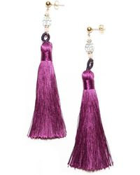 Amundsen Jewellery - Purple Silk Tassel Earrings - Lyst