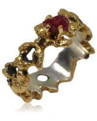 Karolina Bik Jewellery Out Of The Sea Ring With Raw Ruby - Metallic