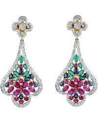Artisan 14k Yellow Gold Pave Diamond Dangle Earrings Natural Emerald Ruby Blue Sapphire Gemstone Jewellery