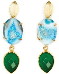 Magpie Rose - Blue Agate & Green Onyx Cocktail Earrings - Lyst