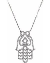 Cosanuova White Hamsa Hand Necklace - Metallic