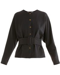 Paisie Belted Cotton Blouse In Black