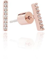 Astrid & Miyu - Hold On Small Bar Earrings In Rose Gold - Lyst