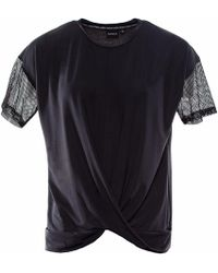 OKAYLA - Black T-shirt With Mesh Sleeves & Twist Front - Lyst