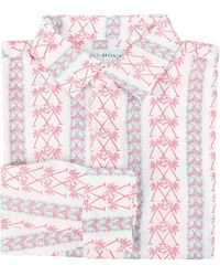 Pink House Mustique Mens Linen Shirt In Palm Stripe Red