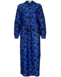 Asneh Stella Blue Printed Silk Dress