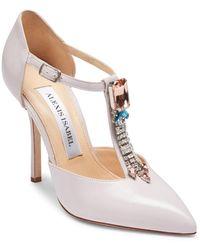 Alexis Isabel Bejeweled Baby Crystal Embellished Lavender Leather Court Shoes - Pink