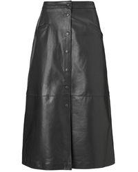 Baukjen Kara Leather Button Skirt - Black