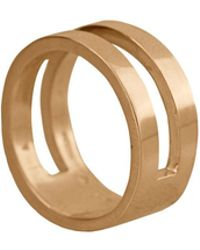 Edge Only Parallel Ring In 14ct Gold - Metallic