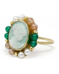 Vintouch Italy - Little Lovelies Gold-plated Green Cameo Ring - Lyst