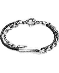 Anchor & Crew - Coal Black Belfast Silver & Leather Bracelet - Lyst