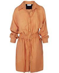 Haris Cotton Linen Blend Shirt-dress With Elastic Waistband - Orange