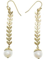Farra Wheat With Freshwater Pearls Dangle Earrings - Metallic