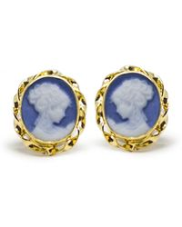 Vintouch Italy - Gold-plated Blue Mini Cameo Stud Earrings - Lyst
