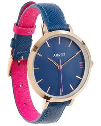 Auree Montmartre Rose Gold Watch With Royal Blue & Hot Pink Leather Strap - Multicolour