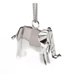 Origami Jewellery Elephant Necklace Sterling Silver - Metallic
