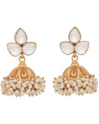 Carousel Jewels - Crystal & Cluster Pearl Chandelier Earrings - Lyst