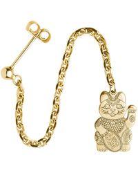 CarterGore Gold Lucky Cat Single Long Drop Earring - Metallic