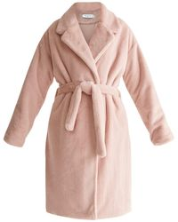 Paisie Oversized Soft Fur Teddy Bear Coat With Self Belt In Pink