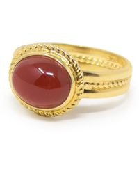 Vintouch Italy Fascetta Gold-plated Carnelian Ring - Red