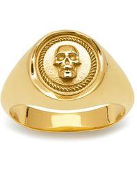 Northskull Atticus Skull Seal Pinky Ring In Gold - Metallic