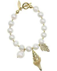 Farra Freshwater Pearls Dangles Bracelet - White