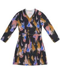 TOMCSANYI Terez Gloomy Flower Print Wrap Dress - Blue